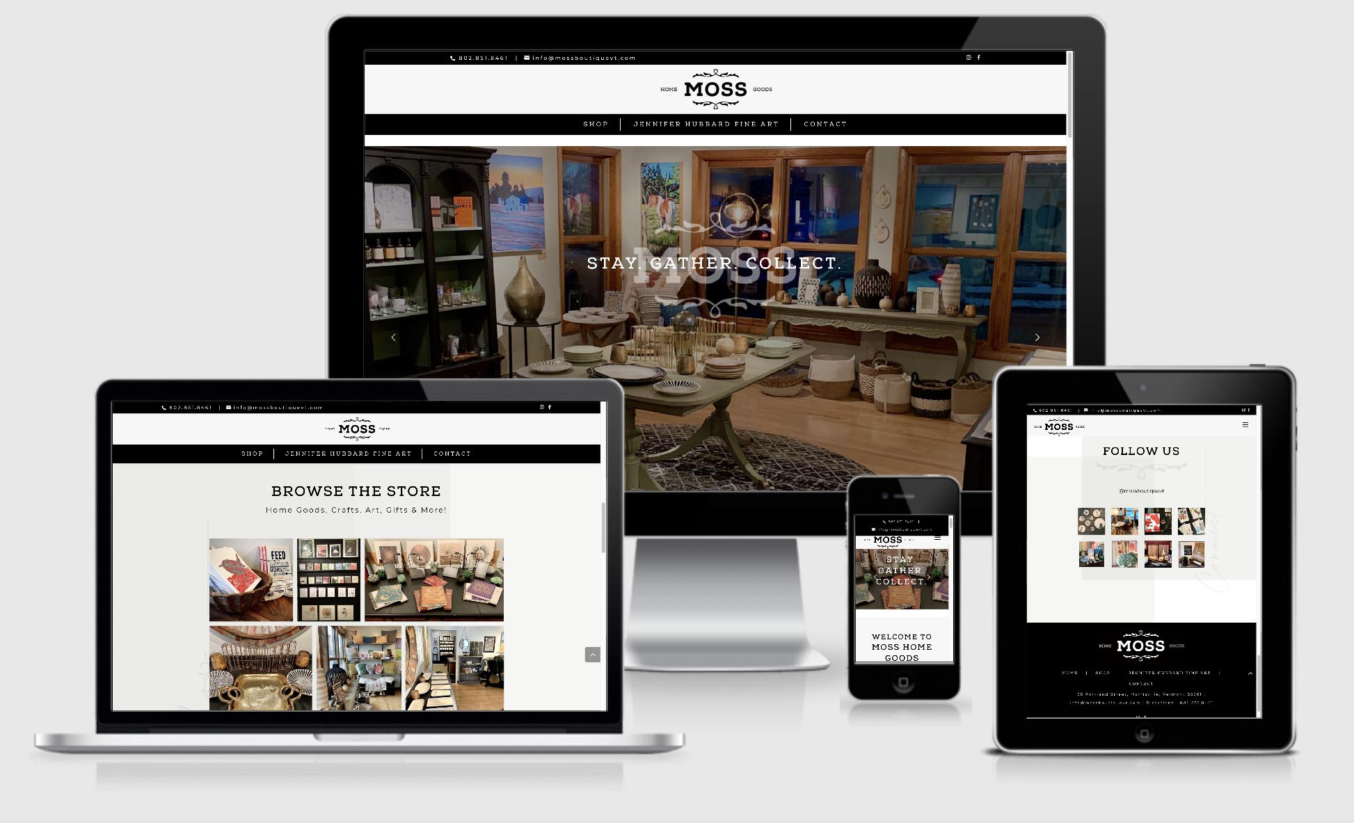 Web design and Development for Moss Boutique